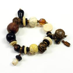 Antique Ceramic Bead Charm Bracelet (India)