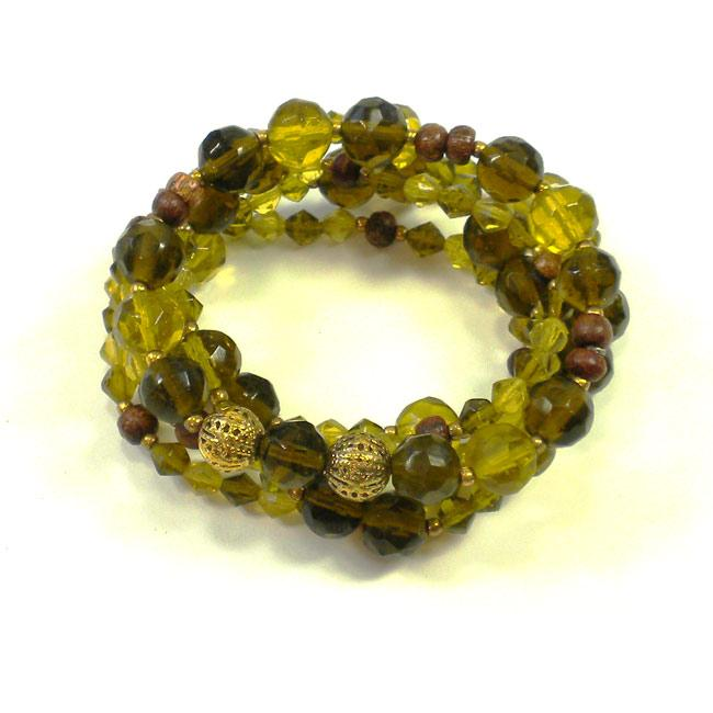 Olive Green Glass and Wood Bead Stretch Bracelets (India) (Set of 5)