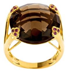D'Yach Gold over Silver Smokey Quartz and Ruby Ring