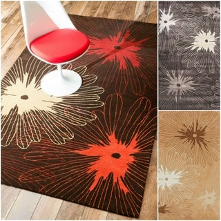 nuLOOM Hand-tufted Pino Collection Floral Burst Rug (3'6 x 5'6)