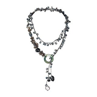 Cotton Black Pearl/ Onyx/ Mother of Pearl Necklace (3-6 mm) (Thailand)