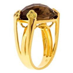 D'Yach Gold over Silver Smokey Quartz and Yellow Sapphire Ring