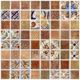 SomerTile 7.75x7.75-in Montage Valise 3 Decor Ceramic Tile (Pack of 10)