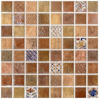 SomerTile 7.75x7.75-in Montage Valise 2 Decor Ceramic Tile (Pack of 10)