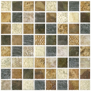 SomerTile 7.75x7.75-in Montage Tressor Decor Ceramic Tile (Pack of 10)