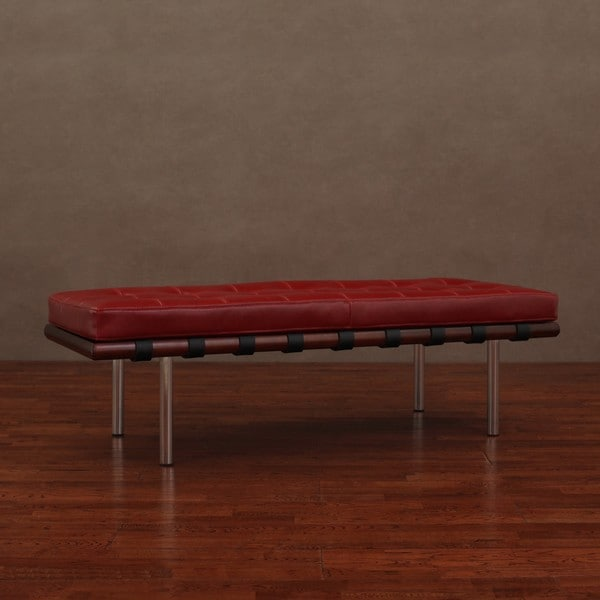 Andalucia Burnt Red Leather Bench