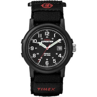 Timex Men's T40011 Expedition Camper All Black Fast Wrap Velcro Strap Watch