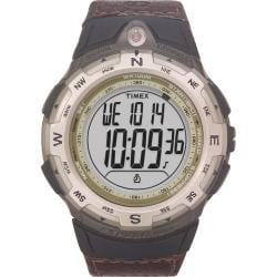 Timex Men's T42761 Expedition Digital Compass CAT Brown Leather Strap Watch