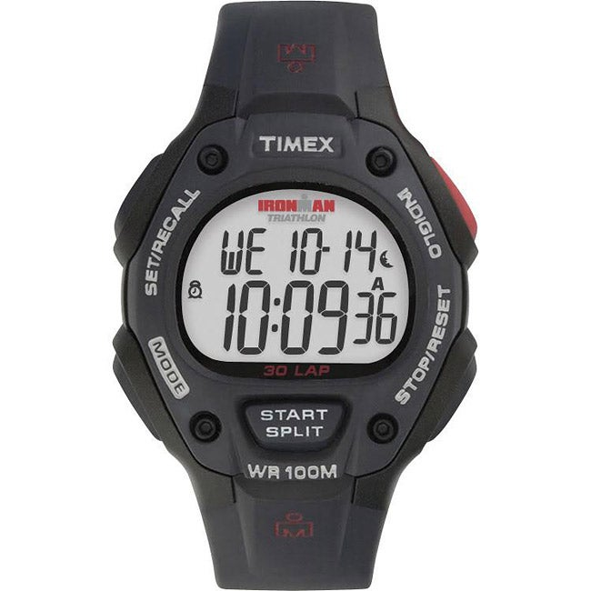 Timex Men's T5H581 Ironman Traditional 30-lap Black/ Red Watch