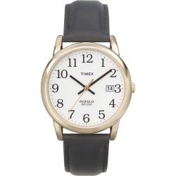 Timex Men's T2H291 Easy Reader Goldtone Case Black Leather Strap Watch