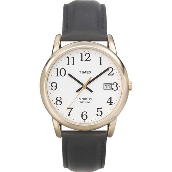 Timex Men's T2H291 Easy Reader Goldtone Case Black Leather Strap Watch