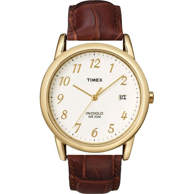 Timex Men's T2M441 Easy Reader Brown Leather Strap Watch
