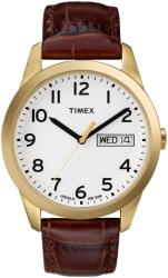 Timex Men's T2N065 Elevated Classics Dress Brown Leather Strap Watch