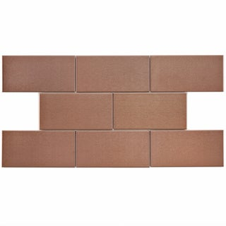 SomerTile 3x6-in Alloy Copper Stainless Steel Over Porcelain Mosaic Tile (Case of 64)