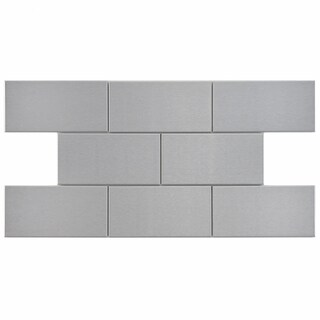 SomerTile 3x6-in Alloy Stainless Steel Over Porcelain Mosaic Tile (Case of 64)