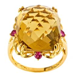 D'Yach Gold over Silver Champagne Quartz and Ruby Ring
