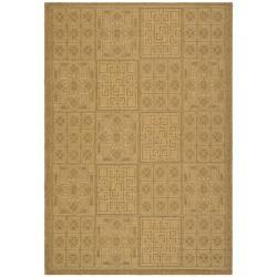Safavieh Indoor/Outdoor Gold/Natural Geometric Pattern Rug (5'3 x 7'7)