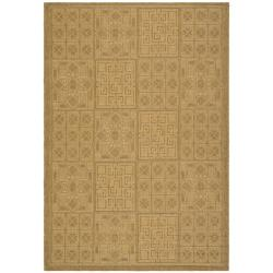 Indoor/ Outdoor Gold/ Natural Rug (6'7 x 9'6)