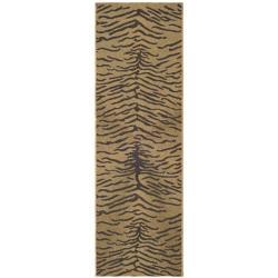 "Indoor/Outdoor Gold/Natural Animal-Print Runner (2'4"" x 6'7"")"