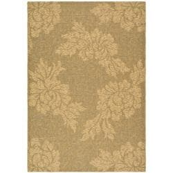 "Safavieh Indoor/Outdoor Gold/Natural Floral Rug (4' x 5'7"")"