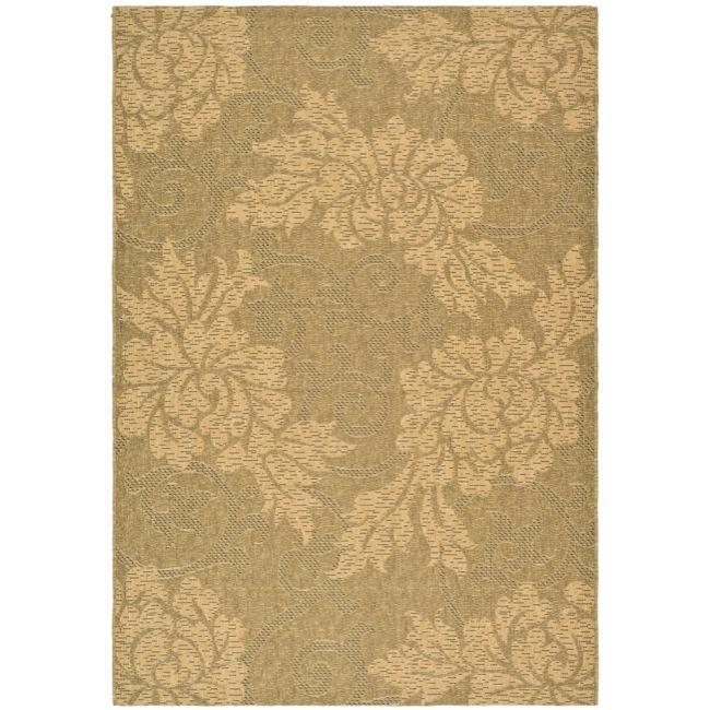 "Safavieh Indoor/Outdoor Gold/Natural Floral Rug (6'7"" x 9'6"")"