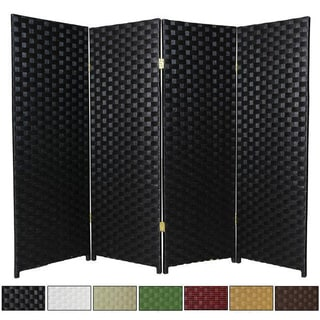 Handcrafted Woven Fiber Four-Panel Four-Foot Room Divider (China)