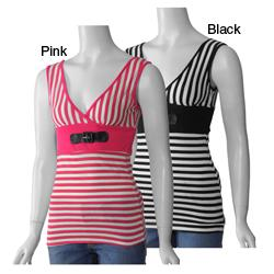 Illusion Juniors Double V-neck Striped Tank Top