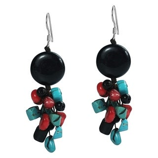 Sterling Silver Gemstone Cluster Drop Earrings (Thailand)