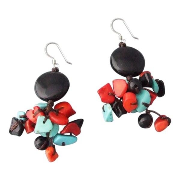 Sterling Silver Gemstone Cluster Drop Earrings (Thailand)