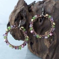 Silver Copper Wrap Purple/ Green Gemstone Earrings (4-6 mm) (Thailand)