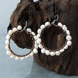 Sterling Silver Copper Wrap FW Pearl Hoop Earrings (4-6 mm) (Thailand)