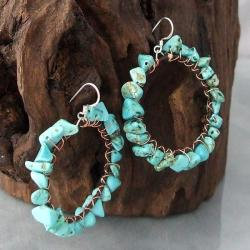 Sterling Silver Copper Wrap Turquoise Hoop Earrings (Thailand)