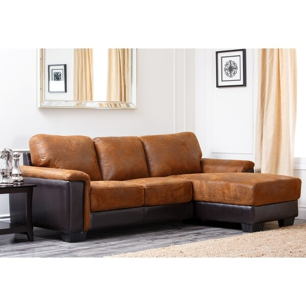 Abbyson Living Beverly Two-Tone Brown Fabric Sectional Sofa