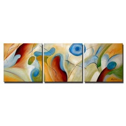 'Hand-painted Abstract' 3-piece Gallery-wrapped Canvas Art Set