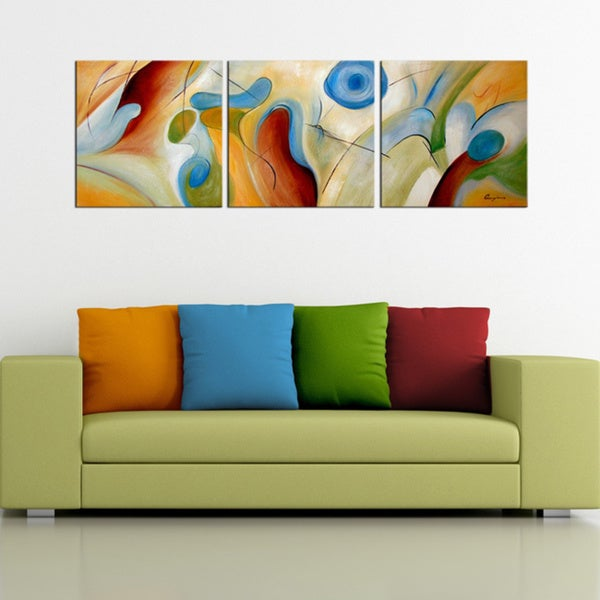 39 hand painted abstract 39 3 piece gallery wrapped canvas art for Set of three canvas paintings