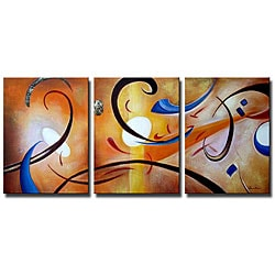 'Happiness Abstract' Gallery-wrapped Canvas Art Set