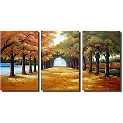 'Golden Road' 3-piece Gallery-wrapped Canvas Art Set