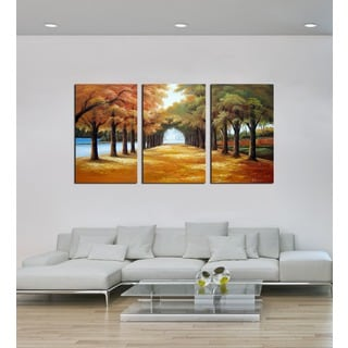'Golden Road' 3-piece Gallery-wrapped Hand Painted Canvas Art Set