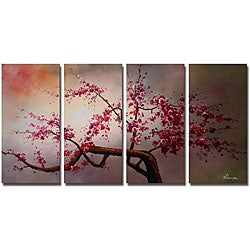 'Plum Blossom IV' 4-piece Hand-painted Canvas Art Set