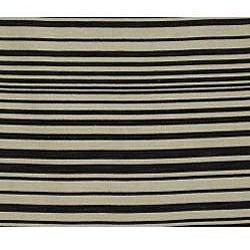 Flat-woven Fabion Black Stripe Wool Rug (2' x 3')