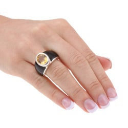 Kabella Sterling Silver Citrine and Black Agate Ring