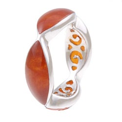 Kabella Sterling Silver Marquise-cut Red Jade Ring