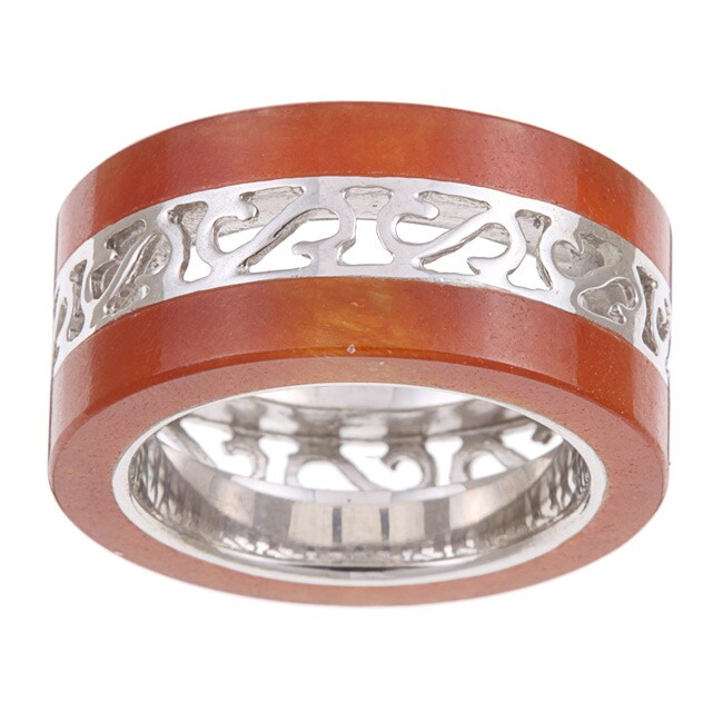 Kabella Sterling Silver Red Jade Band