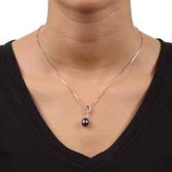 Kabella Sterling Silver Black Pearl and Cubic Zirconia Necklace (8.5-9 mm)