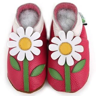 Hot Pink Flower Soft Sole Leather Girl's Shoes