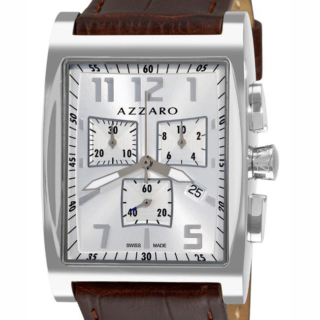 Azzaro Men's '100 Azzaro Chrono' Silver Face Stainless-Steel Chronograph Watch