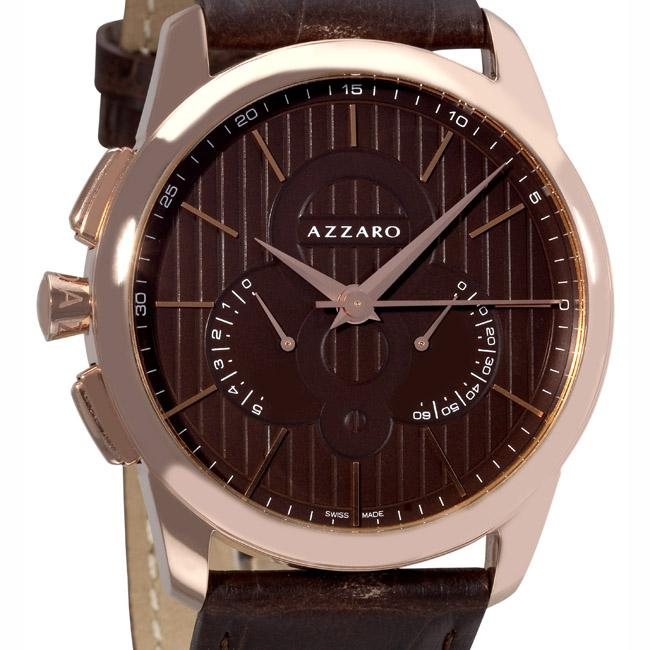 Azzaro Men's 'Legend Chrono' Havana Face Retrograde Chronograph Watch