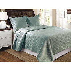 Vashon Slate Blue 3-Piece Quilt Set