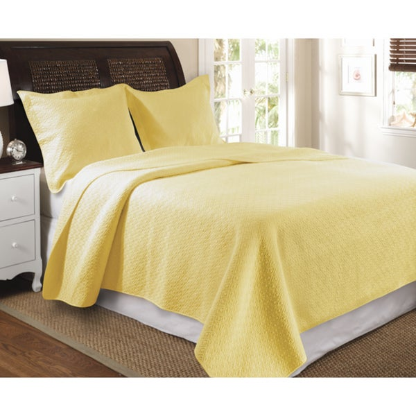 Greenland Home Fashions Vashon 3-Piece Quilt Set-Yellow