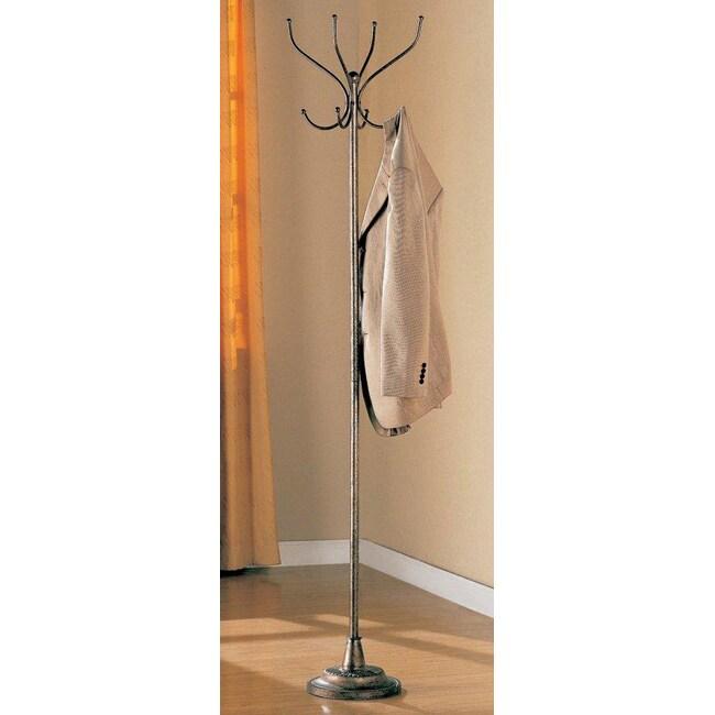 Bronze Silver Finish Metal Coat Rack Hanger Stand